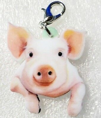 Pig Realistic Adorable Double-Sided Acrylic Purse Charm Zipper Pull Jewelry