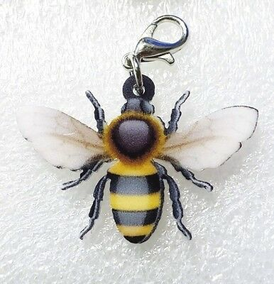 Honey Bee Double-Sided Acrylic Purse Charm Zipper Pull Jewelry