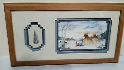 """""""GUARDIANS IN THE SKY"""" Signed by LAVERNE ELLIOT Triple Matted Wood frame w/glass"""