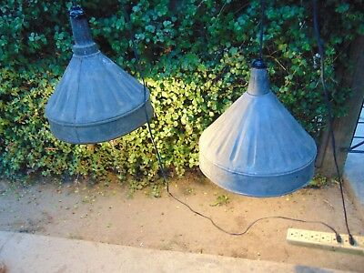 2 Classic Vintage Rustic Mid 19th Century Large FUNNEL Pendant Light Lamp Folk
