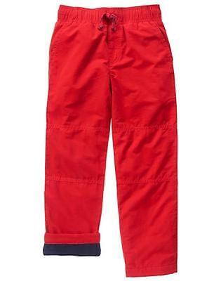 NWT Gymboree Boys Pull on Pants Fleece lined RED gymster many sizes