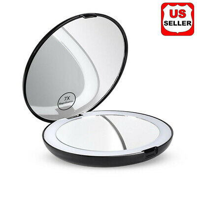 7x Makeup Cosmetic Folding Portable Compact Pocket Mirror with LED Lights Lamps