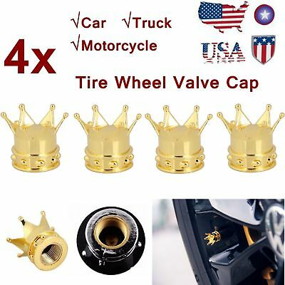 Universal 4x Yellow Gold Crown Tyre Tire Wheel Valve Stem Air Dust Cover Cap