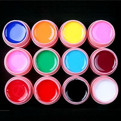 12 Pcs Solid Color Mix Pure Nail Art UV Builder Gel Set for Acrylic Tips Pink