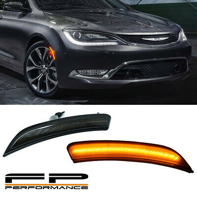 For 2015 2016 2017 Chrysler 200 Smoked LENS OPTIC STYLE LED SIDE MARKER LIGHTS