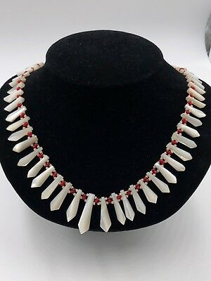 Antique / Vintage ART DECO Necklace MOP Mother of PEARL Graduated Faceted Carved