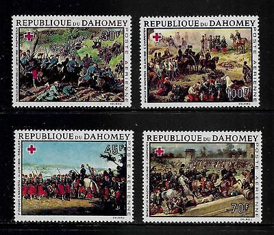 1968 RED CROSS, PAINTINGS, Dahomey, air mail set of 4, mint MNH MUH
