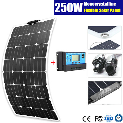 250W Mono Flexible Solar Panel Caravan Boat 4Wd 12V Battery 250 Watt + Regulator