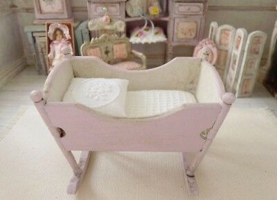 NEW OOAK MINIATURE Dollhouse 1:12 Pastel Pink Shabby Chic Baby Cradle Victorian