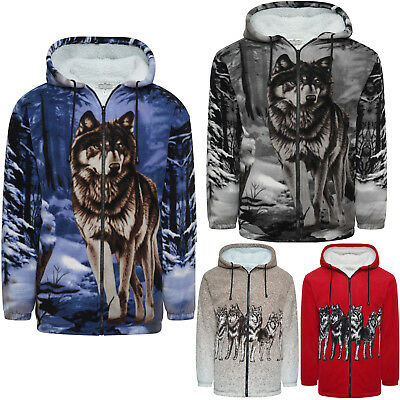 New Mens Womens Fur Lined Hooded Fleece 3D Print Jacket Warm Thick Casual Top