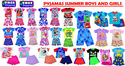 NEW Sz 1-12 KIDS SUMMER PYJAMAS BOYS GIRLS OUTFITS TEE SLEEPWEAR NIGHTIE TSHIRTS