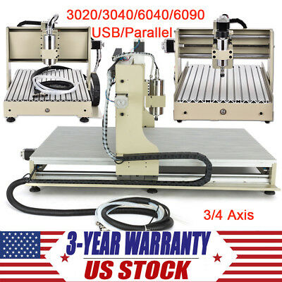 3/4 Axis CNC Router Engraver USB/Parallel Metal Wood Carving Engraving Machine