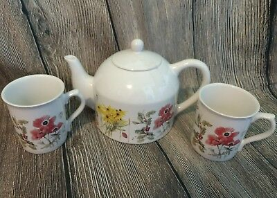 Hallmark Marjolein Bastin Tea Set 1997 Wildflower Meadow 4-Cup Teapot 2 Mugs