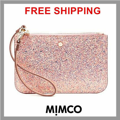 Authentic Mimco SHELL PINK GLITZ STRAP Leather Small MIM Pouch Wallet Purse DF