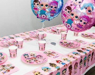 LOL Surprise Dolls Birthday Party Supplies Plates Cups Napkins Tableware Balloon