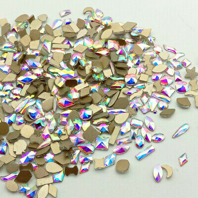 20/50/100pcs 3D Nail Art Rhinestones Flatback Elongated Glass Colorful Stones