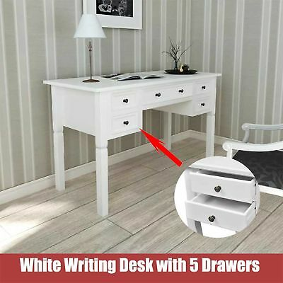 White Writing Desk with 5 Drawers Wooden French/Pine for Bedroom Office Paint UK