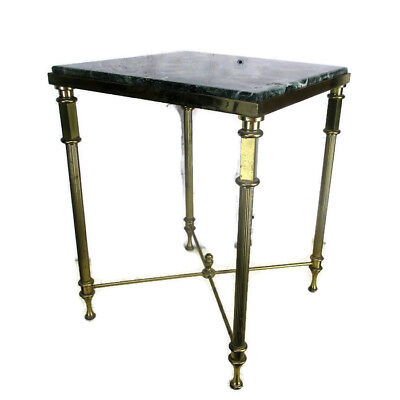 Small Square Side Coffee Table Green Marble top Ornate Brass Hollywood Regency
