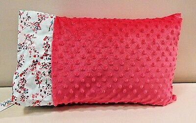 NWT Cherry Blossom Tree Teal Pink Minky Toddler Pillowcase 12x16 Girl Napmat Bed