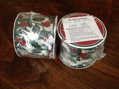 Longaberger Wired Fabric Ribbon - Traditional Holly - 2 New Spools - 10 yards