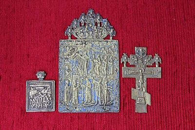 Antique Russian Old Believer brass Icon set 17th-19th Century