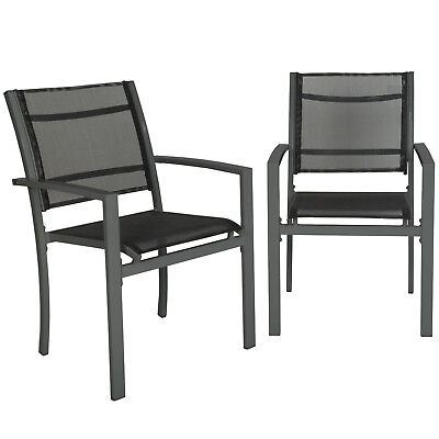 Set of 2 or 4 Metal garden chairs outdoor camping patio furniture mesh dark grey