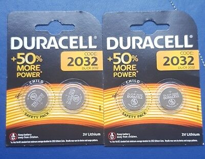 4 X  Duracell CR2032 3V Lithium Button Battery Coin Cell DL/CR 2032 Expiry 2027