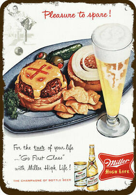 1956 MILLER HIGH LIFE BEER Vintage Look REPLICA METAL SIGN  CHEESEBURGER BOWLING