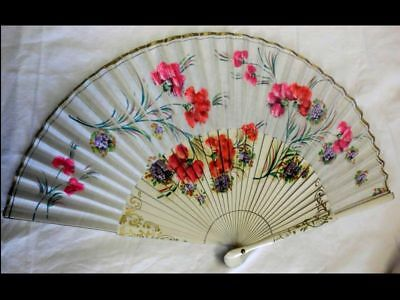 hübscher handbemalter Fächer-vintage-Sevilla-Spain-lovely handpainted fan