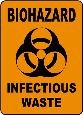 "Biohazard Infectious Waste Sign 8""x12"" .040″ Aluminum English/Spanish G5702"