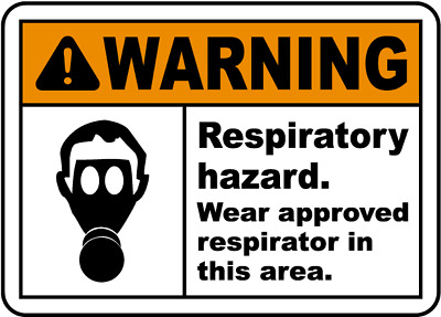 """Wear Approved Respirator Sign 8""""x12"""" .040″ Aluminum English/Spanish I4416"""