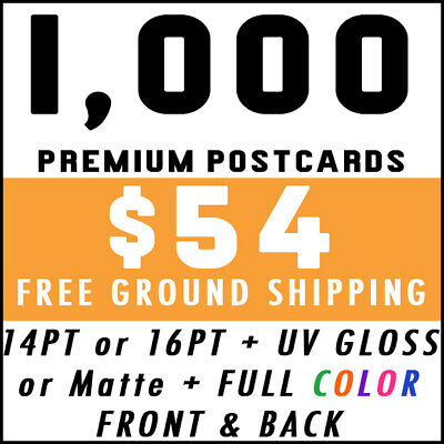 1000 Custom Full Color 4x6 14PT Postcards w/ UV Gloss - Real Print Free Shipping
