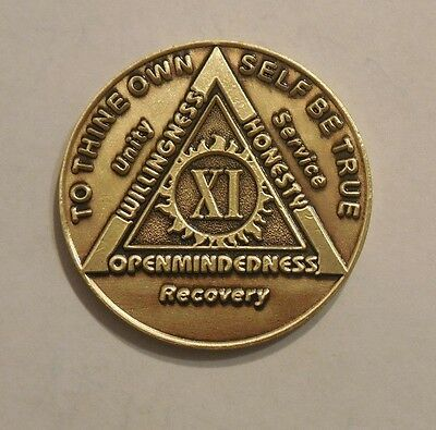 aa bronze alcoholics anonymous 11 year sobriety chip coin token medallion NEW
