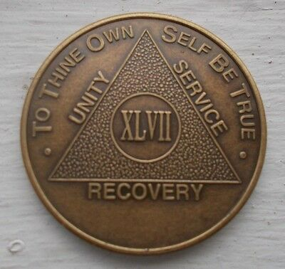 AA New Bronze Alcoholics Anonymous 47 year coin medallion
