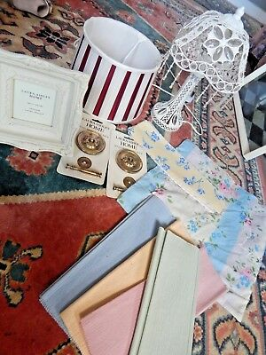 Vintage LOT BUNDLE HOME Laura Ashley Items FRAME CUSHION ANTIQUE LAMP SHADE New