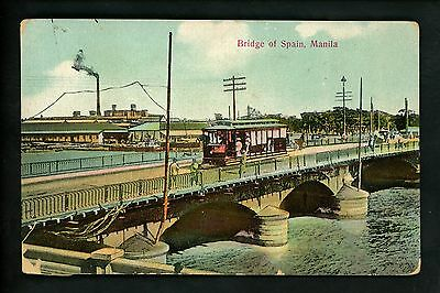 Philippines postcard Manila, Bridge of Spain trolley view Vintage