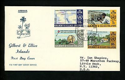 Postal History Gilbert & Ellice Islands Scott #218-221 FDC UN WMO Weather 1973