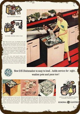 1956 GENERAL ELECTRIC AUTOMATIC PINK DISHWASHER Vintage Look REPLICA METAL SIGN