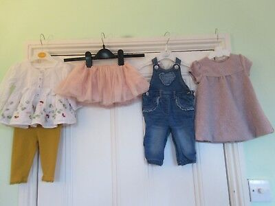 3-6m bundle: Denim dungarees/Smock top & leggings/Lilac dress/Net skirt: NEXT