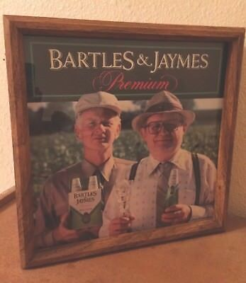 Vintage Bartles and Jaymes Advertising Light up Bar Sign in Wood Cabinet