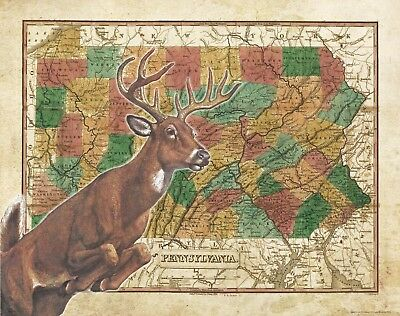 Whitetail Deer Hunting Magazine Cover Art Print Vintage Cabin Wall Decor  MAG31