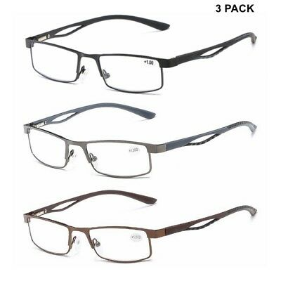 2bf6145e030a 3 PACK Mens Reading Glasses Business Spring Hinges Readers Rectangular  +1.0~+4.0