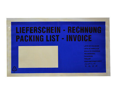 Document Folder Delivery Note / Invoice Din Long 235x135mm Blue
