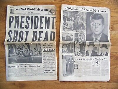November 22, 1963  -  New York World-Telegram - President  Shot  Dead  - Jfk