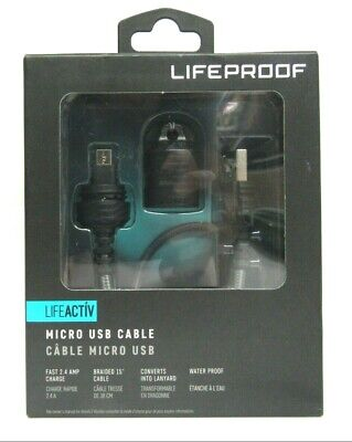 """LifeProof - LifeActiv 15.67"""" Micro USB-to-USB Type A Cable - Black"""