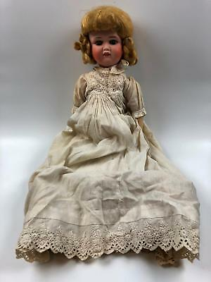 Antique FY NIPPON Bisque Girl Doll Japan 1004 Blue Glass Eyes 20""