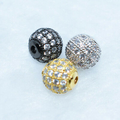 New Zircon Gemstones Pave Round Ball Bracelet Connector Charm Beads Silver Gold