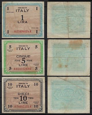 ITALIEN - ITALY  1, 5, 10 Lire Banknote 1943  F (4) Allied Military   (20002