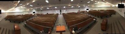 Used wooden church pews with upholstered seats. 1200 lineal feet, all or part