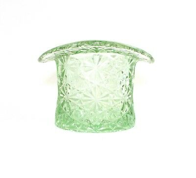 Indiana Glass Smith Light Green Lime Large Top Hat Daisy Button Vintage